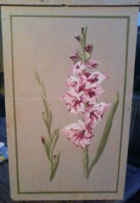 Gladioli on a wooden box in acrylic
