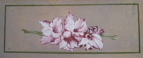 Gladioli on a wooden box top in acrylic