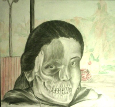 Cross sectioned self portrait, watercolor and graphite, 2004