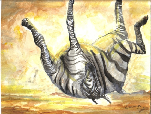 Zebra Rolling in Dirt, watercolor, 2004